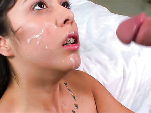 Petite Teenager Takes Hard Cock And A Big Facial