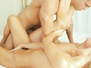 Morning Threesome With Two Small Tits Teen Hotties
