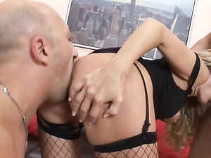Dirty Blonde Whore In A Rough Double Team Threesome