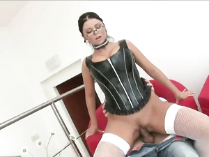 Kinky Corset And Fishnets On A Hot Euro Fuck Slut