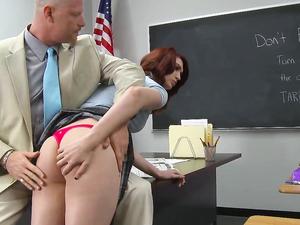 Taut Schoolgirl Tummy Takes A Hot Cumshot