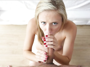Beautiful Blonde Teen Blows Him And Bends Over