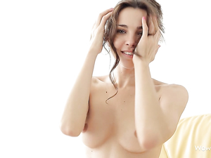 Solo 18 Year Old Beauty Caressing Her Perky Tits
