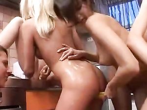 Sticky Food Makes The Lesbian Orgy So Messy