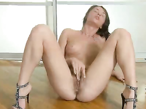 Strappy Black Heels On A Sexy Masturbating Teenager