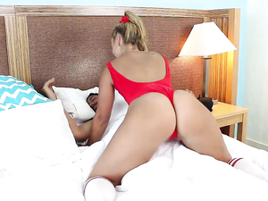 Red Bathing Suit Babe With Curves Gets Laid